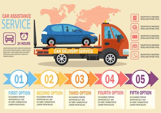 Car assistance service. vector vlakke afbeelding.