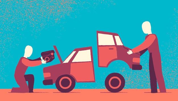 Car repair achtergrond ontwerp