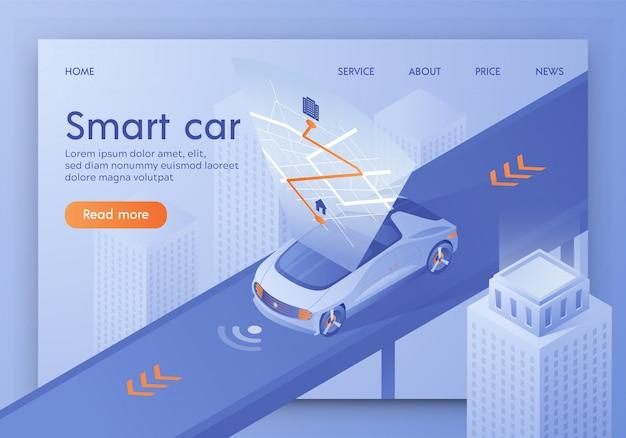 Car routeprojectie op interactieve kaart, gps-app. landingspagina.