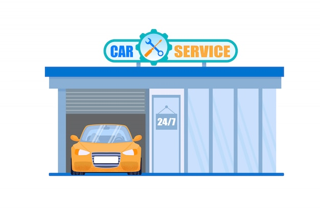 Car service garage en onderhoud 24 hour machine check and fix station