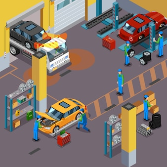 Car service isometrische concept