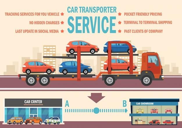 Car transporter service. vector vlakke afbeelding.