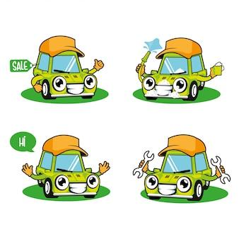 Car wash, autoservice, verkoop van auto's mascotte cartoon