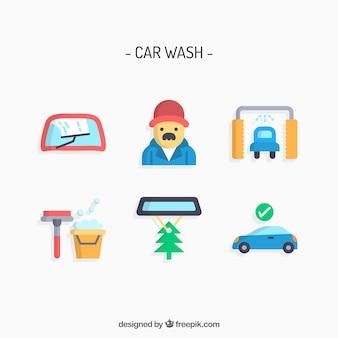 Car wash diensten vector set