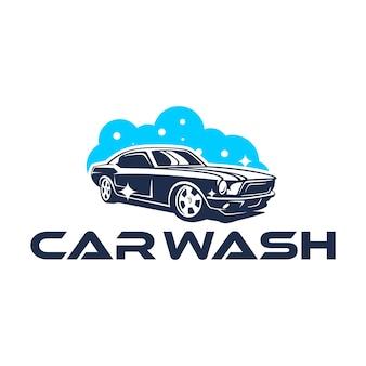 Car wash-logo met klassieke auto
