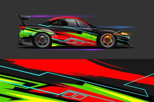 Car wrap-ontwerp met streep en grunge abstract ontwerp voor avontuur