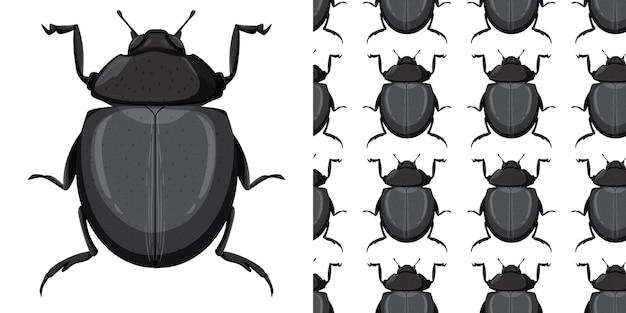 Carabidae insect en naadloze achtergrond