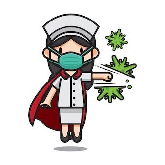Caracter schattige verpleegster hitting corona virus