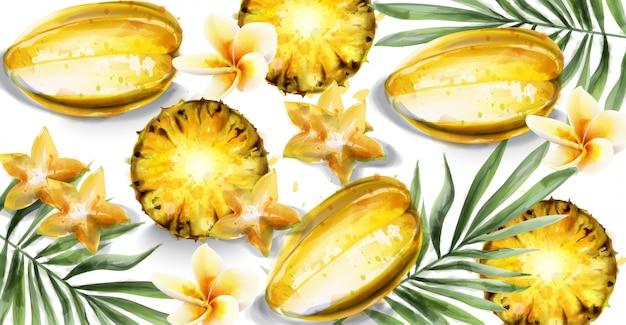 Carambola-sterfruit en ananas snijdt waterverf