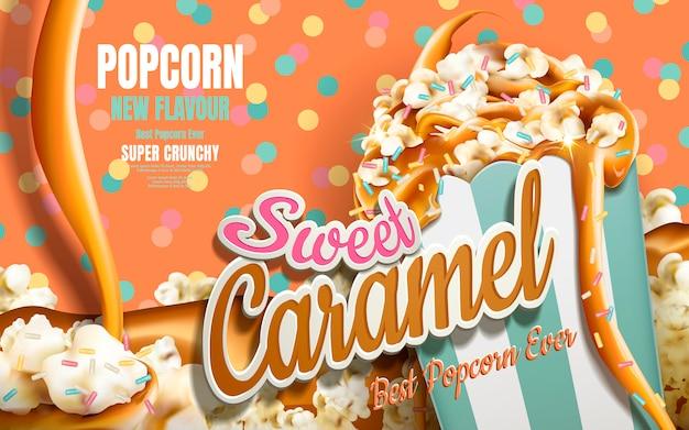 Caramel popcorn advertenties, karamel stroomt naar beneden met regenboog jimmy gecoat geïsoleerd op kleurrijke gestippelde