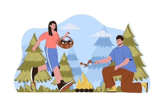 Caravan camping web concept illustratie met platte mensen karakter