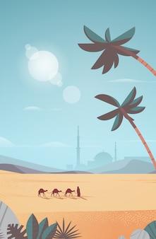 Caravan van kamelen gaan door woestijn eid mubarak wenskaart ramadan kareem sjabloon arabische landschap verticale volledige lengte illustratie