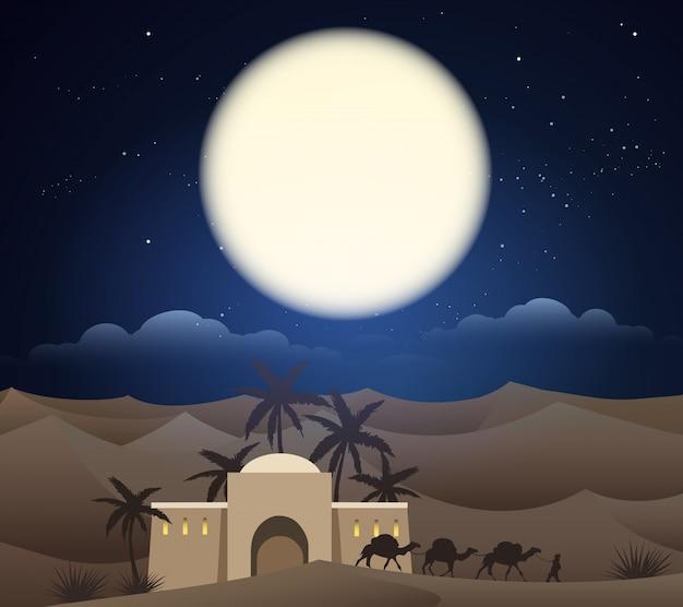 Caravan van kamelen in de sahara, illustratie