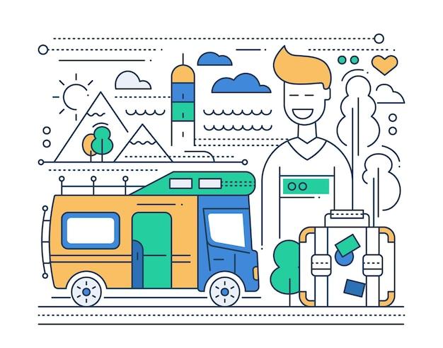 Caravantoerisme - vectorillustratie lijn plat ontwerp met aanhangwagen naar huis en gelukkige mannelijke toerist