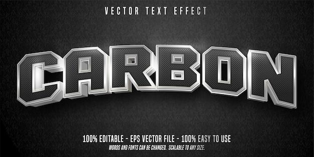 Carbon tekst bewerkbaar teksteffect geïsoleerd op zwart