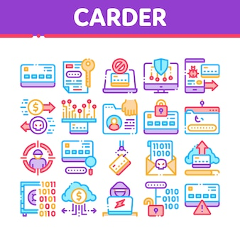 Carder hacker collectie elementen icons set