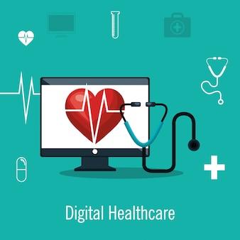 Cardiologie digitale gezondheidszorg medische geïsoleerd