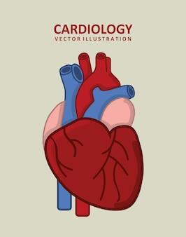 Cardiologie ontwerp over beige achtergrond vectorillustratie