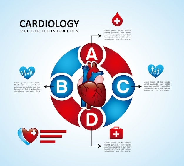 Cardiologie ontwerp over blauwe achtergrond vectorillustratie