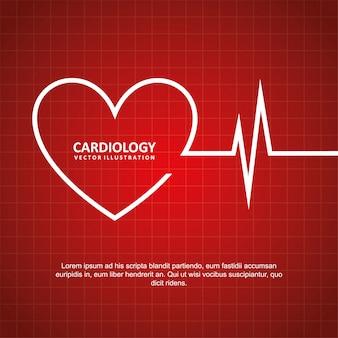 Cardiologie ontwerp over rode achtergrond vectorillustratie