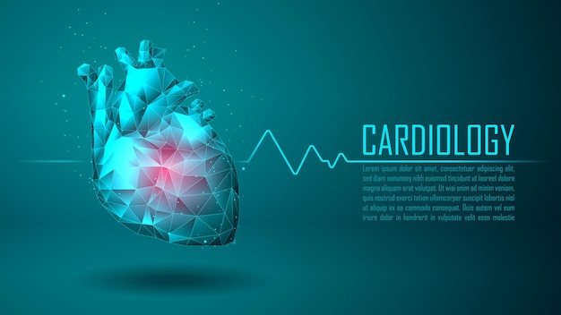 Cardiologie technologie concept gezondheidszorg met voorbeeldtekstsjabloon