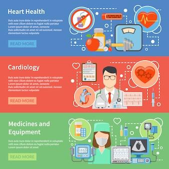 Cardiologie vlakke banners