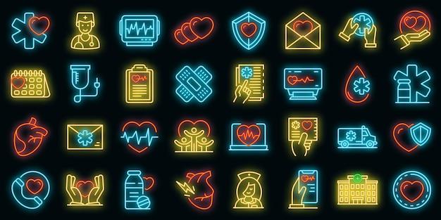 Cardioloog pictogrammen instellen. overzicht set van cardioloog vector iconen neon kleur op zwart