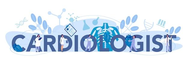 Cardioloog typografische koptekst concept. arts behandelt de aandoening van het hart. cardiologie arts maakt diagnoses en behandeling van congentiële hartafwijkingen. vector illustratie.