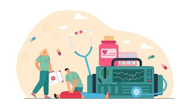 Cardiopulmonale reanimatie in noodgevallen Gratis Vector