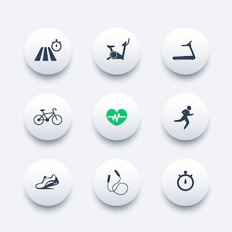Cardiotraining ronde moderne iconen set,
