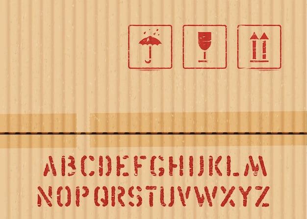 Cargo kartonnen doos pictogram teken set breekbaar, droog houden, top en krat lettertype voor logistiek of verpakking