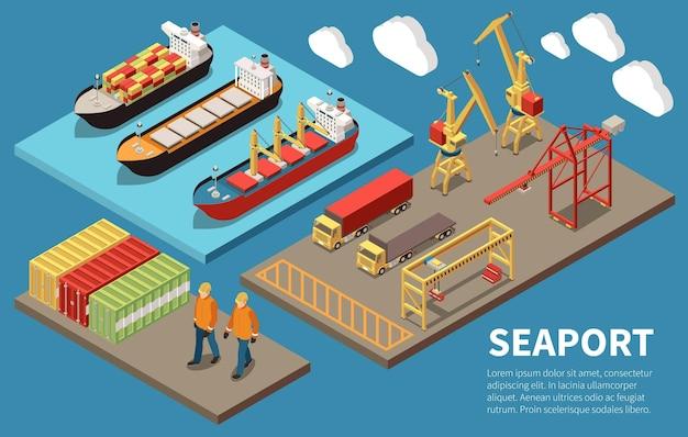 Cargo zeehaven containerschepen laden lossen kranen bulkcarrier vrachtvrachtwagens dekarbeiders 3 isometrische composities