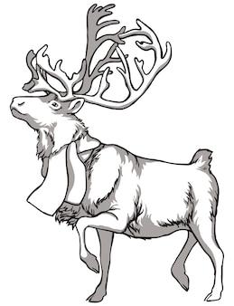 Caribou herten en inheemse volkeren van noord-rusland vintage zwart-wit tekening vector illust...