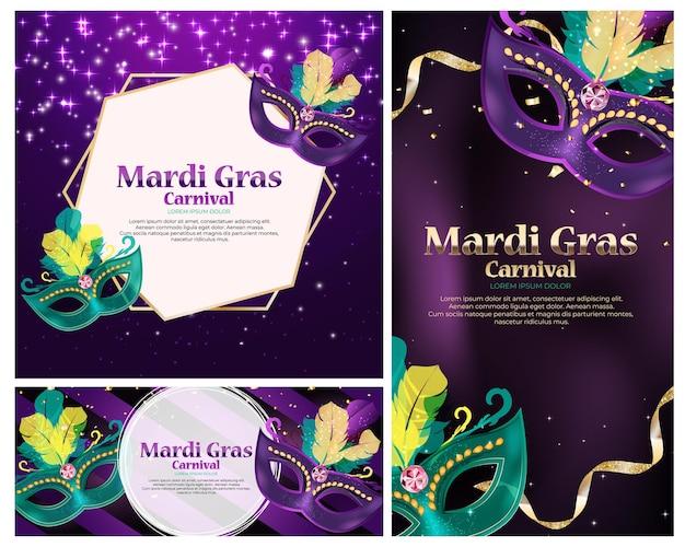 Carnaval achtergrond instellen. traditioneel masker met veren en confetti voor fesival, maskerade, parade. sjabloon voor ontwerp uitnodiging, flyer, poster, banners.