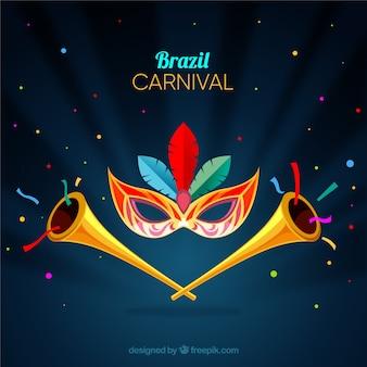 Carnaval-achtergrond met trompetten
