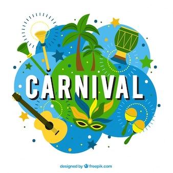 Carnaval achtergrond met typische elementen van brazilië
