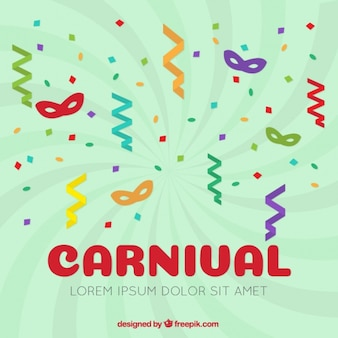 Carnaval achtergrond van gekleurde maskers met serpentine