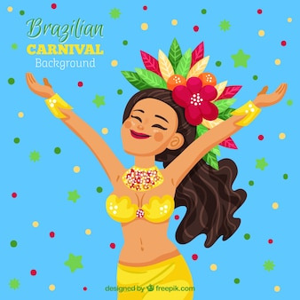 Carnaval-achtergrondontwerp met gelukkige vrouw