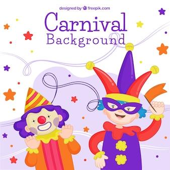 Carnaval-achtergrondontwerp met jong geitje en clown