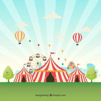 Carnaval-achtergrondontwerp met tenten en ballons