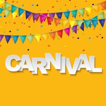 Carnaval-banner met vlaggetjes en vliegende ballonnen