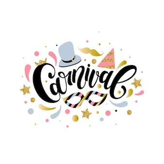 Carnaval belettering met kleurrijke elementen, vectorillustratie eps 10