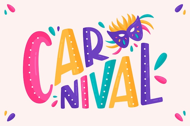 Carnaval belettering op witte achtergrond