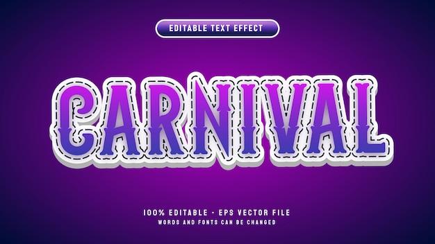 Carnaval bewerkbaar teksteffect met 3d-cartoon stijl vector illustratie sjabloon