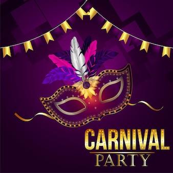 Carnaval brazilië feestevenement met gouden masker