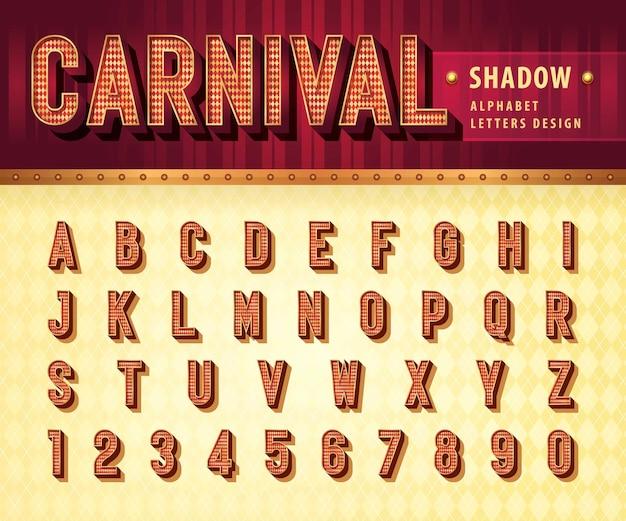 Carnaval circus kermis letters retro 3d alfabet met schaduw lettertype gecondenseerde slagschaduw letters set