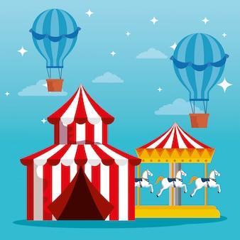 Carnaval circus met luchtballonnen en trouwen gaan rond