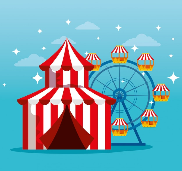 Carnaval-circus met reuzenrad naar traditioneel festival