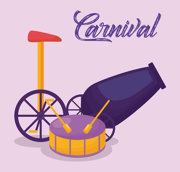 Carnaval-circusontwerp met trommel en kanon
