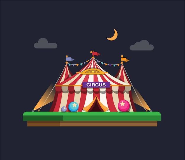 Carnaval-circustent in het concept van de nachtscène in de vlakke afbeelding van het beeldverhaal